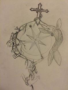 Something I'm working on, cross, family, koi, anchor, compass tattoo