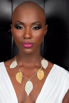 Dramatic-No-Hair-Look Nice Short Haircuts for Black Women Nice Short Haircuts, Short Hair Cuts, Short Hair Styles, Style Punk Rock, Bald Head Women, Pixie, Finger Wave Hair, Black Women Fashion, Black Women Hairstyles