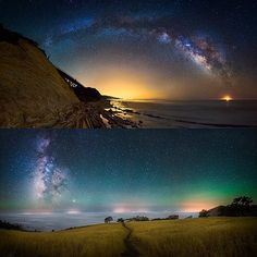 Two Milky Way panoramas taken in Santa Barbara County. The top image is a 180 degree view of the Galaxy rising from Gaviota. The bottom image is a 180 degree panorama not including the full bow, this was taken as the Milky Way was setting on top of Mt Figueroa.