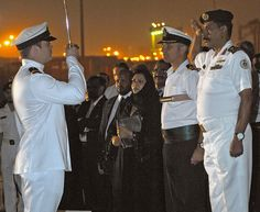 HMS Somerset stops in the port of Jeddah, Saudi Arabia. Whilst being deployed in the Middle East, the ship visited Jeddah for official calls. The Commanding Officer Paul Bristowe hosts a cocktail party on the flight deck complete with ceremonial sunset. Picture: LA(Phot) Abbie Gadd