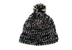 Beanie hat with pom pom, handknit, black, pastels, item BBV6