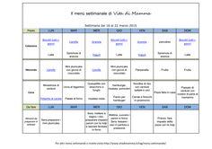 Vitadimamma - Menu settimanale in pdf da stampare per la settimana dal 16 al 22 marzo 2015. Ricette per tutta la famiglia, con un occhio particolare al gusto dei bambini. Merendine fatte in casa: camille, biscotti-tutti-i-giorni, granola, plumcake allo yogurt con gocce di cioccolato. E cene veloci e semplici per vegetariani, vegani e onnivori.