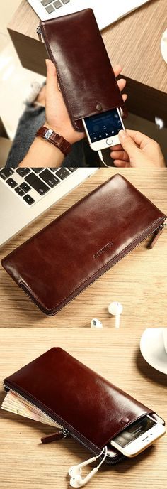 Vintage Long Wallet with Phone Bag. 5 Colors Optional.