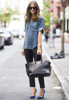 olivia palermo chic street style // love the denim paired with blue heels. Such a Fashionista Looks Street Style, Looks Style, Mode Outfits, Casual Outfits, Outfits With Blue Shoes, Blue Heels Outfit, Fall Outfits, Black Pants Outfit, Summer Outfits