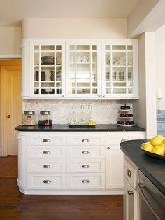 Subway Tile Back Splash White Cabinets Nickel Hardware