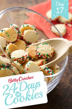 24 Days of Cookies: Day 17 Mini Holiday Confetti Cookies:  Round out your holiday treat tray with homemade bite-size cookies covered in sprinkles.#MakeMerry