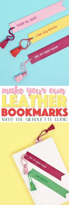 these diy leather bookmarks are so cute - emboss and cut leather with the silhouette curio