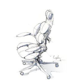 Office chair industrial design sketch by Shunji Yamanaka Tool Design, Design Process, Sofa Bar, Bar Chairs, Room Chairs, Chair Design, Furniture Design, Drawing Sketches, Drawings