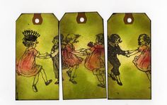 Victorian Children Art Tags, Tryptych tag Set, Dancing Children, Ooak