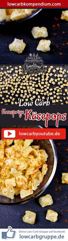 Crispy cheese pops (puffed cheese, cheese pop) – the most ingenious low-carb snack - Germany Rezepte Ideen Low Carb Keto, Low Carb Recipes, Snack Recipes, Queijo Low Carb, Paleo Dessert, Finger Foods, Food And Drink, Yummy Food, Low Carp