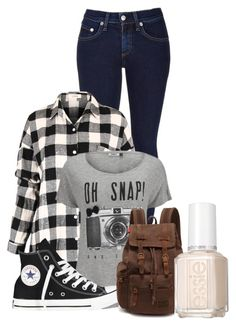 """""""All By Myself"""" by musicheartbeatjj ❤ liked on Polyvore featuring rag & bone, ONLY, Converse and Essie"""