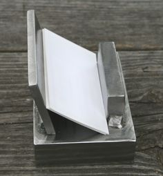 Business Card Holder Handmade Welded Steel Chunks | JulieKindtStudio - Housewares on ArtFire