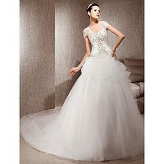 +A-line+With+Straps+Chapel+Train+Satin+And+Tulle+Wedding+Dress+–+USD+$+247.99