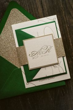 Green and gold glitter wedding invitations package