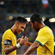 14/10 Neymar and Robinho celebrating win against Japan in Singapore