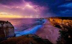 Morze, Plaża, Niebo, Chmury, Deszcz, Klif, Pioruny, Burza