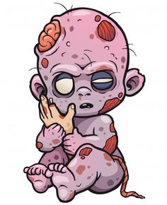 Art And Illustration, Zombie Illustration, Vector Illustrations, Zombie Cartoon, Baby Cartoon, Cartoon Art, Arte Zombie, Zombie Art, Zombie Drawings