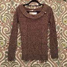 Charlotte Russe Sweater NWT Charlotte Russe cowl neck sweater in heathered brown!! Cute design detail on front and button accent on neckline (also has extra button attached to tag). Open to reasonable offers!! Charlotte Russe Sweaters Cowl & Turtlenecks