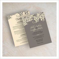 Appleberry Ink — Victorian Vintage Filigree Wedding Invitations (gray and ivory shown)