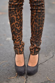 Joe's Leopard Jeans (bought them!), Shoes are from Kohls (they're black suede)