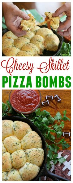 Make your Big Game celebrations delicious with this Cheesy Skillet Pizza Bomb recipe made with RAGÚ sauces! #AD #RAGUPartyPleasers