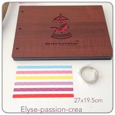 Grand album , cahier  à spirales  à décorer matières bois/cartons 27 x 19.5 cm