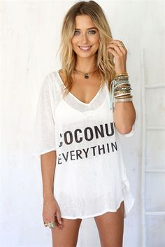 2583c614ed This amazing oversized tunic speaks for itself! Proclaim your love for  coconut everything in this lightweight sheer top. Perfect for over a  bralette or ...