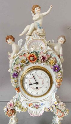 Meissen style German Porcelain mantel clock