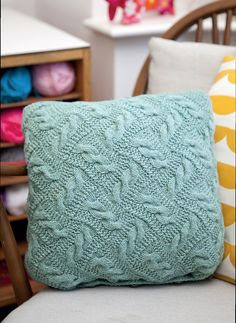 Cables for Entrelac. Ravelry: Ropery Cushion pattern by Michelle Hazell