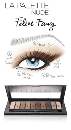 La palette Nude offers expert makeup artist looks to unleash your inner artist Create The Feline Fancy look from La Palette Nude in 4 easy steps : 1. Apply shade 3 to inner corner across lid and lower lashline 2. Apply shade 6 directly above the pupil. 3. Apply Shade 3 to outer lid, blending upward and outward on ends. 4. Layer Shades 3 and 6 into lower lashline. Visit theartofnude.com to watch the live tutorial