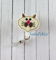 Kitty with Rhinestone eyes Badge Holder with Retractable Badge Reel. A great ID Badge Holder for yourself or for a corowrker gift - pinned by pin4etsy.com