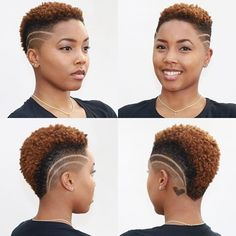coiffures courtes naturelles Shaved Pages - Women's Hairdos - Short Natural Curly Hair, Short Natural Haircuts, Tapered Natural Hair, Pelo Natural, Short Hair Cuts, Short Hair Designs, Shaved Hair Designs, Tapered Haircut, Fade Haircut