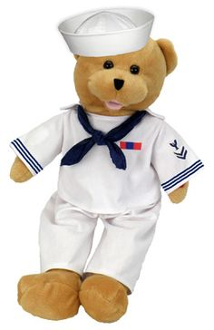 """http://shop.o2o.com/item.php?LBB-FXc291K1v-53161 American Hero Navy Bear Ships Overseas  The Navy Hero in your life will adore this unique bear. 19"""" tall his head sways and his mouth moves while singing,""""Anchors AWeigh"""". A truly unique gift to show your love and appreciation for your hero."""