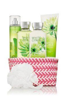 "Bath & Body Works Signature Collection "" White Citrus "" Fragrance Mist ~ Body Lotion ~ Shower Gel ~ Triple Moisture Body Cream & Shower Sponge Gift Set Basket"