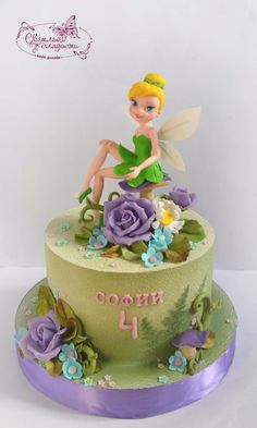(3) Одноклассники Tinkerbell Birthday Cakes, Little Girl Birthday Cakes, Fairy Birthday Cake, 1st Birthday Cakes, Single Layer Cakes, Disney Cakes, Cake Pictures, Novelty Cakes, Girl Cakes