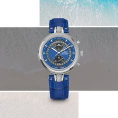 """Ready to go ? Enjoy the beautiful days with your Number 8 Blue Chronograph! """"Never Give Up"""" Beautiful Days, Number 8, Ready To Go, Never Give Up, Omega Watch, Luxury, Swiss Watch, Calf Leather, Watches"""