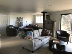 A place for guests to mingle or curl up with a book in front of the fire Spiritual Health, Bed And Breakfast, Great Rooms, Vacations, Deer, Couch, Book, Furniture, Home Decor