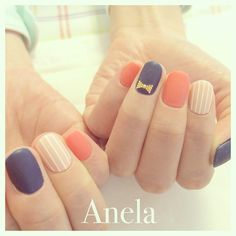 Coral, navy and nude manicure, so sweet Dream Nails, Love Nails, How To Do Nails, Fabulous Nails, Gorgeous Nails, Pretty Nails, Striped Nails, Cute Nail Designs, Nail Colors