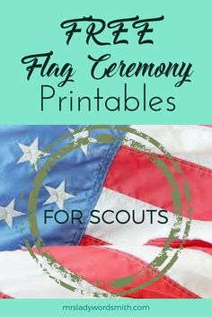 Calling all Scout leaders and parents, here are free Flag Ceremony printables for your Cub Scouts Wolf, Girl Scouts, Girl Scout Troop, Scout Leader, Cub Scout Flag Ceremony, Different Flags, Pack Meeting, Fhe Lessons, Flag Stand