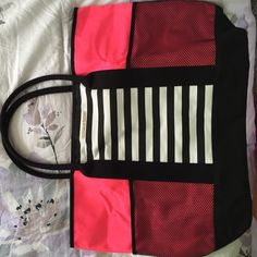 Victoria Secret bag Large VS tote! Brand new in online bag. Hot pink and black with black and white stripes. Victoria's Secret Bags Totes