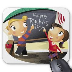 Children pointing at a chalkboard mouse pad