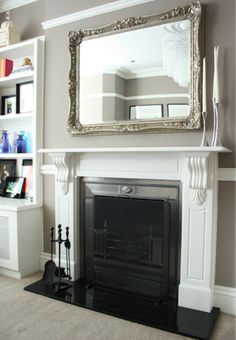 Mirror above fireplace Mirror above fireplace Above Fireplace Decor, Fireplace Mirror, Home Fireplace, Fireplace Remodel, Living Room With Fireplace, Fireplace Design, Fireplace Mantels, My Living Room, Fireplaces