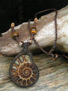 Fossil Prehistoric Ammonite Pendant Hemp Cord Necklace