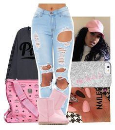"""""""put that f*ckin dress on & work it girl"""" by trillest-k ❤ liked on Polyvore featuring Victoria's Secret PINK, MCM and UGG Australia"""