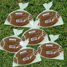 Monogrammed Football Decorated Wedding Cookie Favors