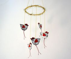 Chickens Mobile Paper Mache Mobile Hanging Chickens by irineART