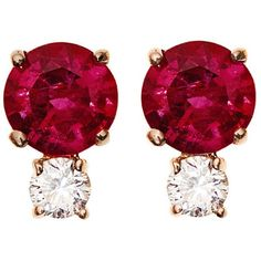 Jemma Wynne Ruby and Diamond Stud Earrings ($1,365) ❤ liked on Polyvore featuring jewelry, earrings, accessories, rose, rose jewellery, sparkly earrings, long diamond earrings, 18 karat gold earrings and 18k diamond earrings