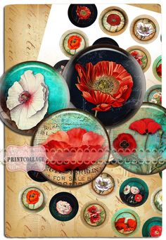 Buttons Pinback Digital Printable Images for Button machine 1.313 inch Flatback Buttons Flair Buttons Clip art Vintage Poppy b112 - pinned by pin4etsy.com