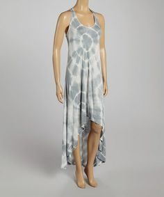 Another great find on #zulily! Silver Gray & White Tie-Dye Hi-Low Dress by Poof! #zulilyfinds