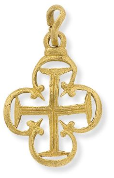 A gold cruciform pendant  Designed as an incised Latin cross set within an openwork lobed and trefoiled frame, length 4.5 cm, believed to be approximately c. AD1400.